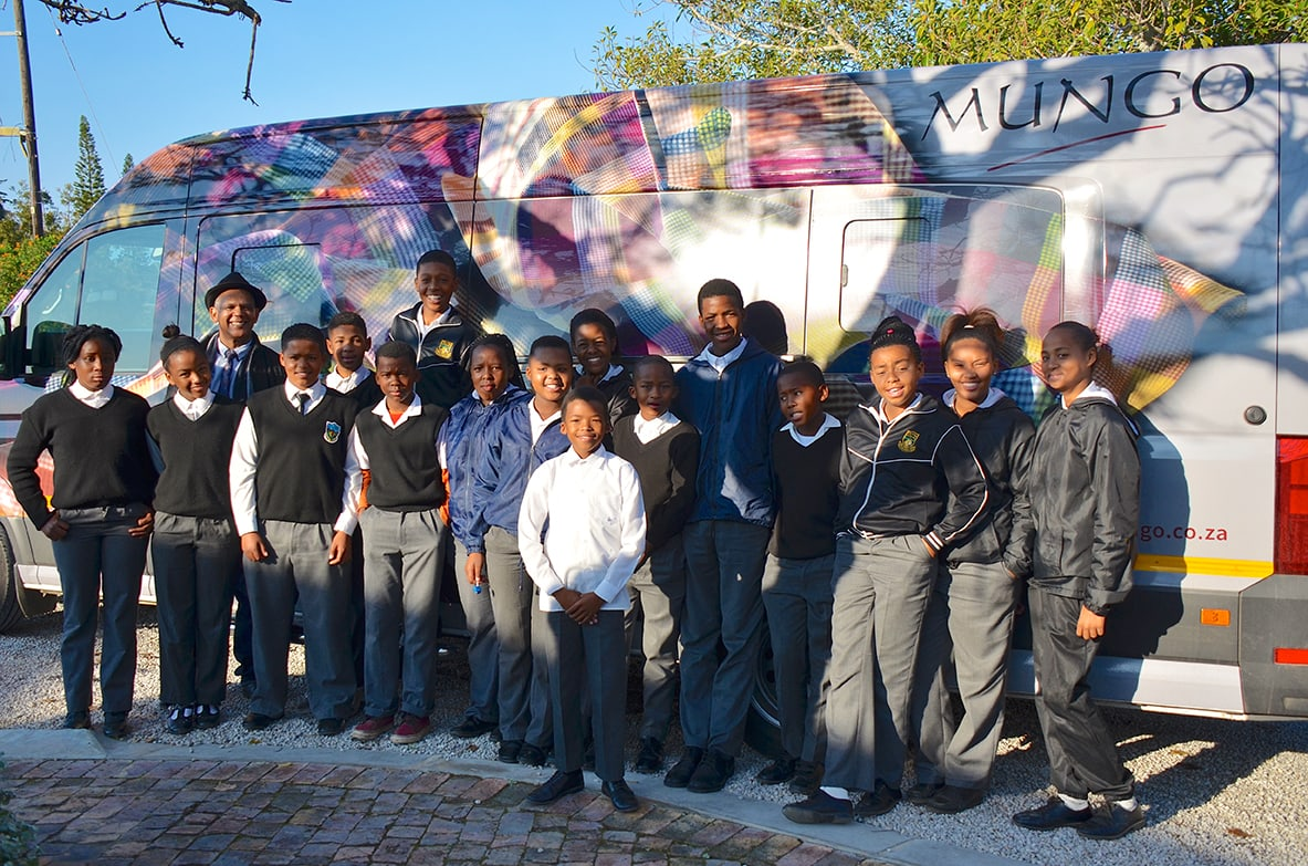 Students from Crags Primary in Plettenberg Bay arrive at the Mungo Mill to join a workshop in textile design. The workshop forms part of Mungo's SRI, MOVE