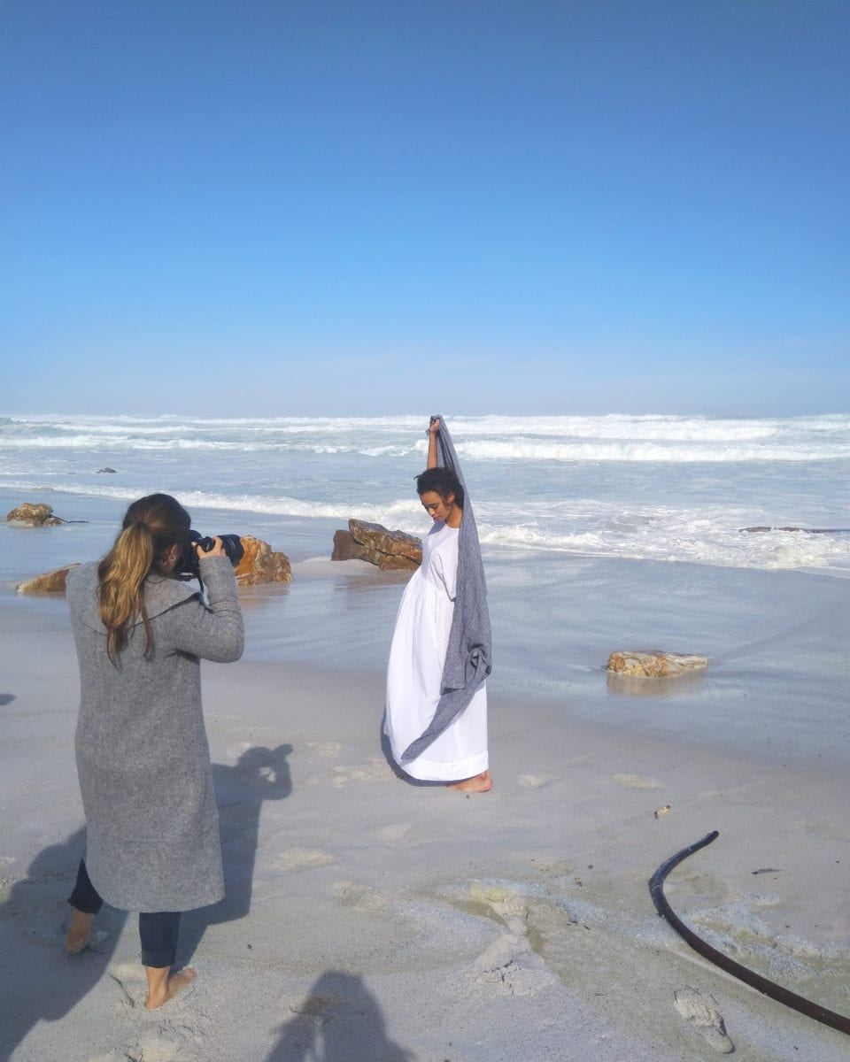 Mungo Deep Sea Dhow Towel - 100% linen. Modelled on Misty Cliffs beach by Qiniso Van Damme & photographed by Adel Ferreira