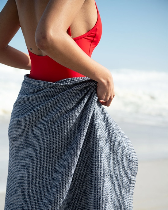 Mungo Deep Sea Dhow Towel. A 100% linen towel designed, made and woven at the Mungo Mill in Plettenberg Bay, South Africa