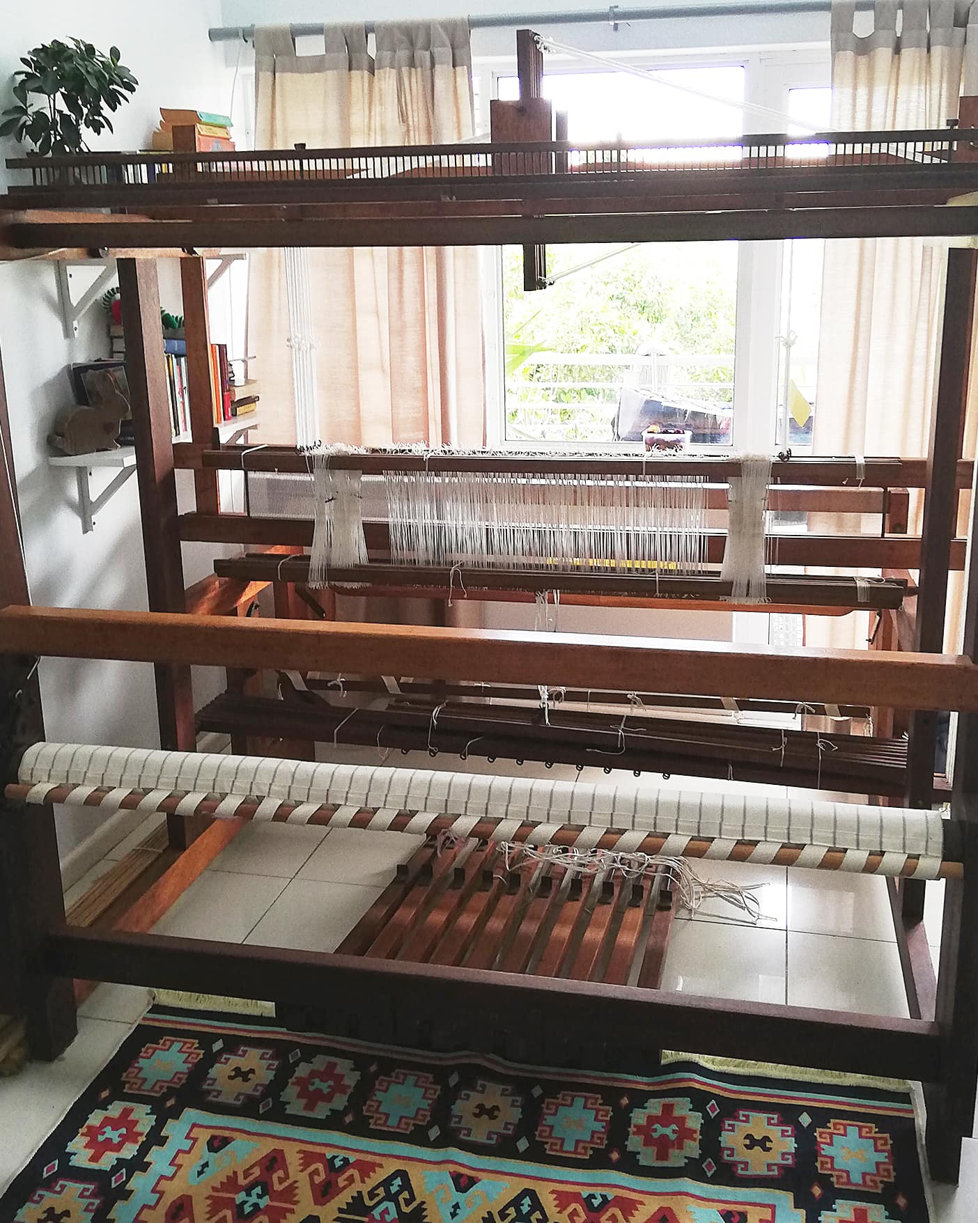 The weaving handloom in its full glory, set up and ready to weave at the home of Mungo designer, Lenore Schroeder