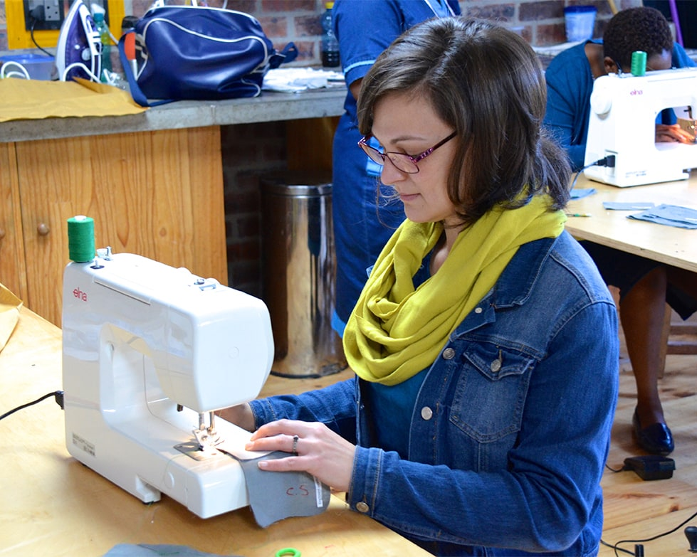 Getting to grips with a sewing machine and the fundamentals of needlework at the recent Mungo staff development workshop. Held at the Mungo Mill in Plettenberg Bay