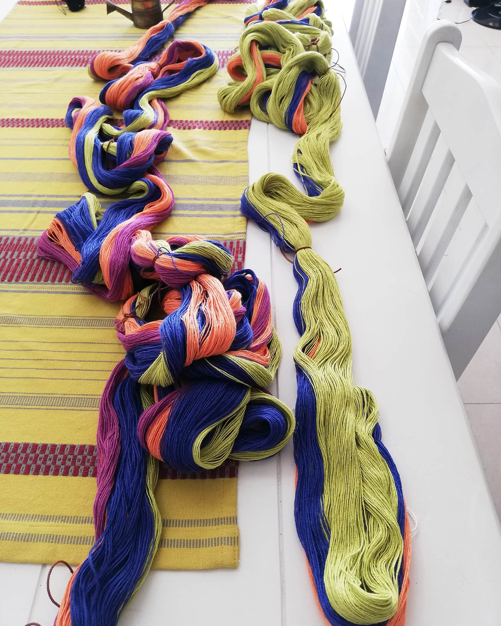 Warp ready for the loom - a creation in the making from Mungo head designer, Lenore Schroeder