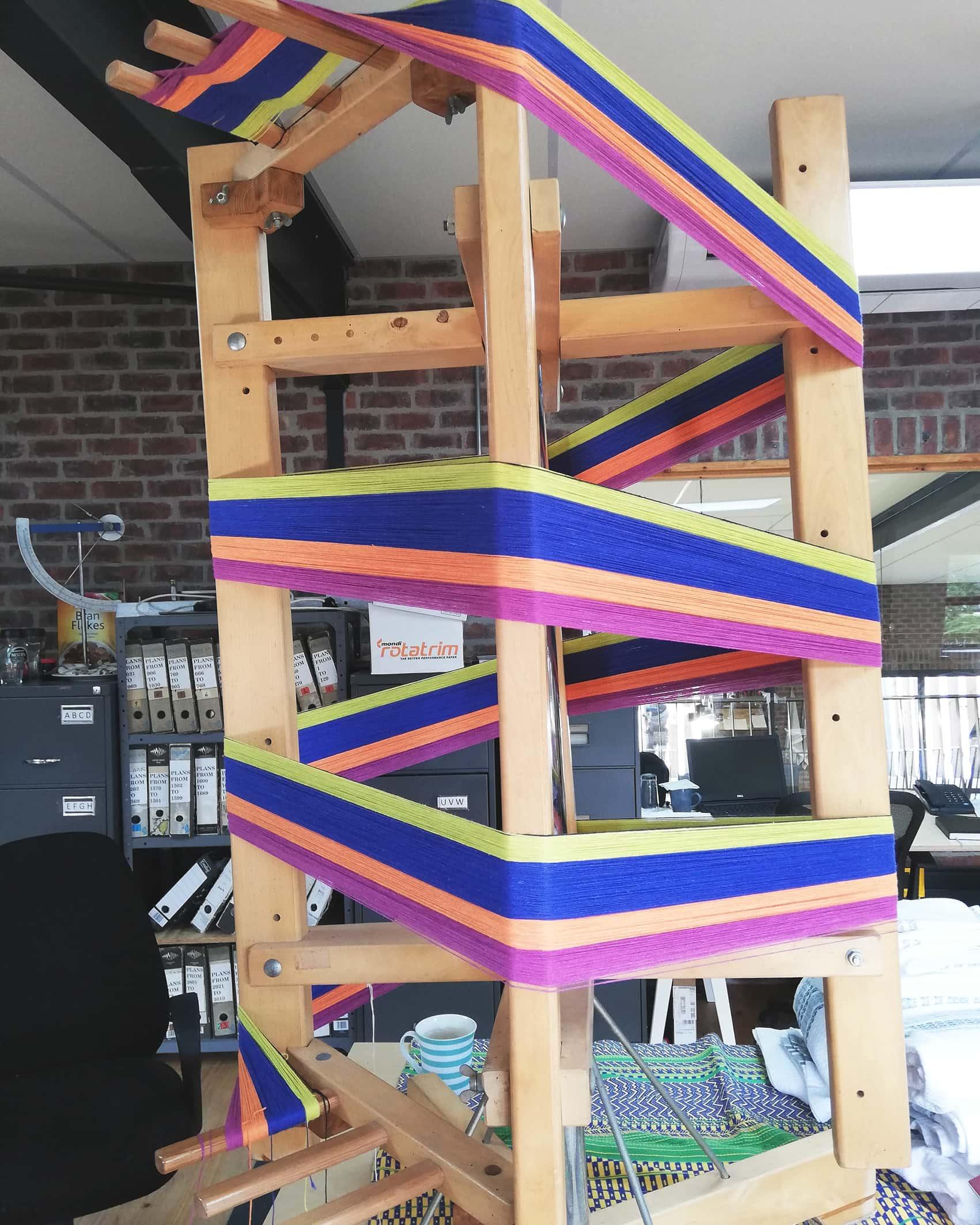 Mungo designer, Lenore Schroeder's warping reel - part of the process of hand weaving textiles on her handloom in Plettenberg Bay