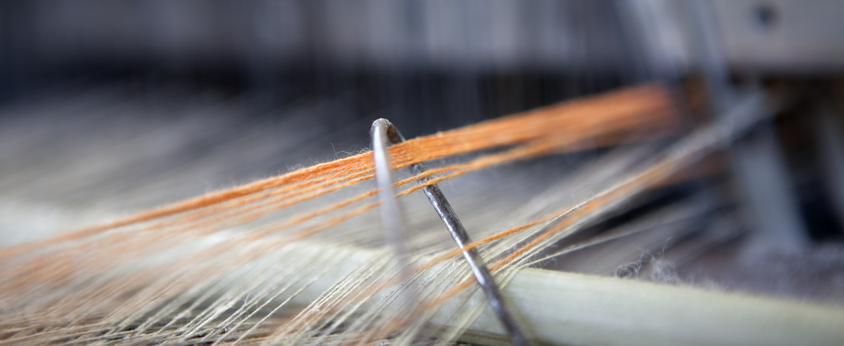 Close-up of fibres on a weaving loom at the Mungo Mill in Plettenberg Bay, South Africa