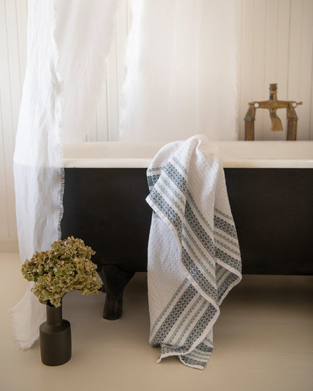 Mungo Aegean Towel in Odyssey colourway. A GOTS-certified organic towel woven in South Africa