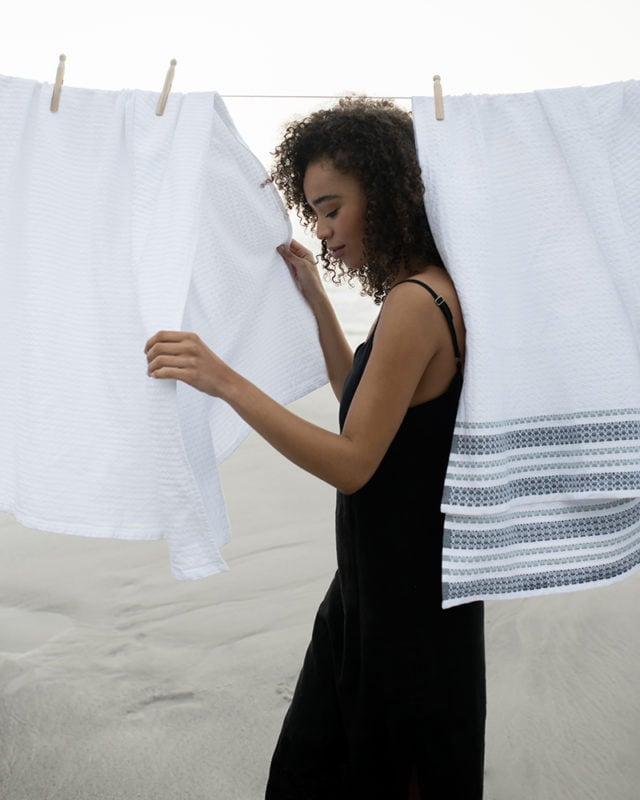 Mungo Aegean organic towel. Shot at Misty Cliffs in Cape Town. Soft & sustainable bath sheets made in South Africa