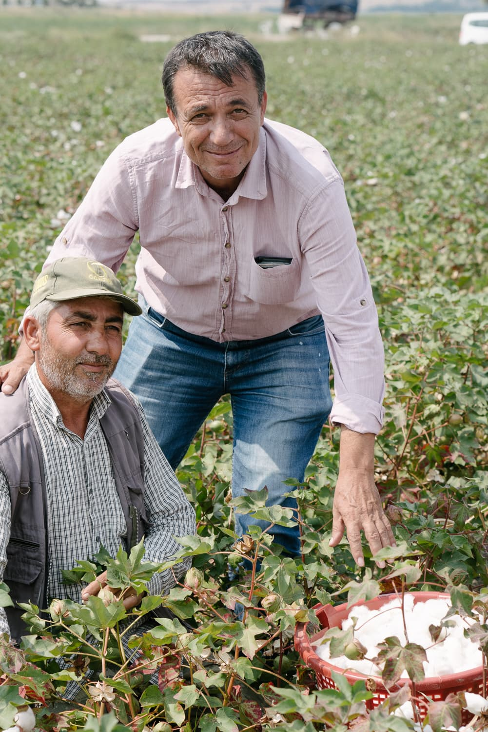 Organic cotton pickers in a field in Turkey