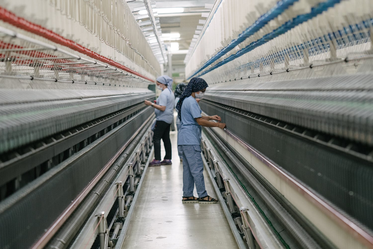 Workers at a cotton ginning plant in Turkey