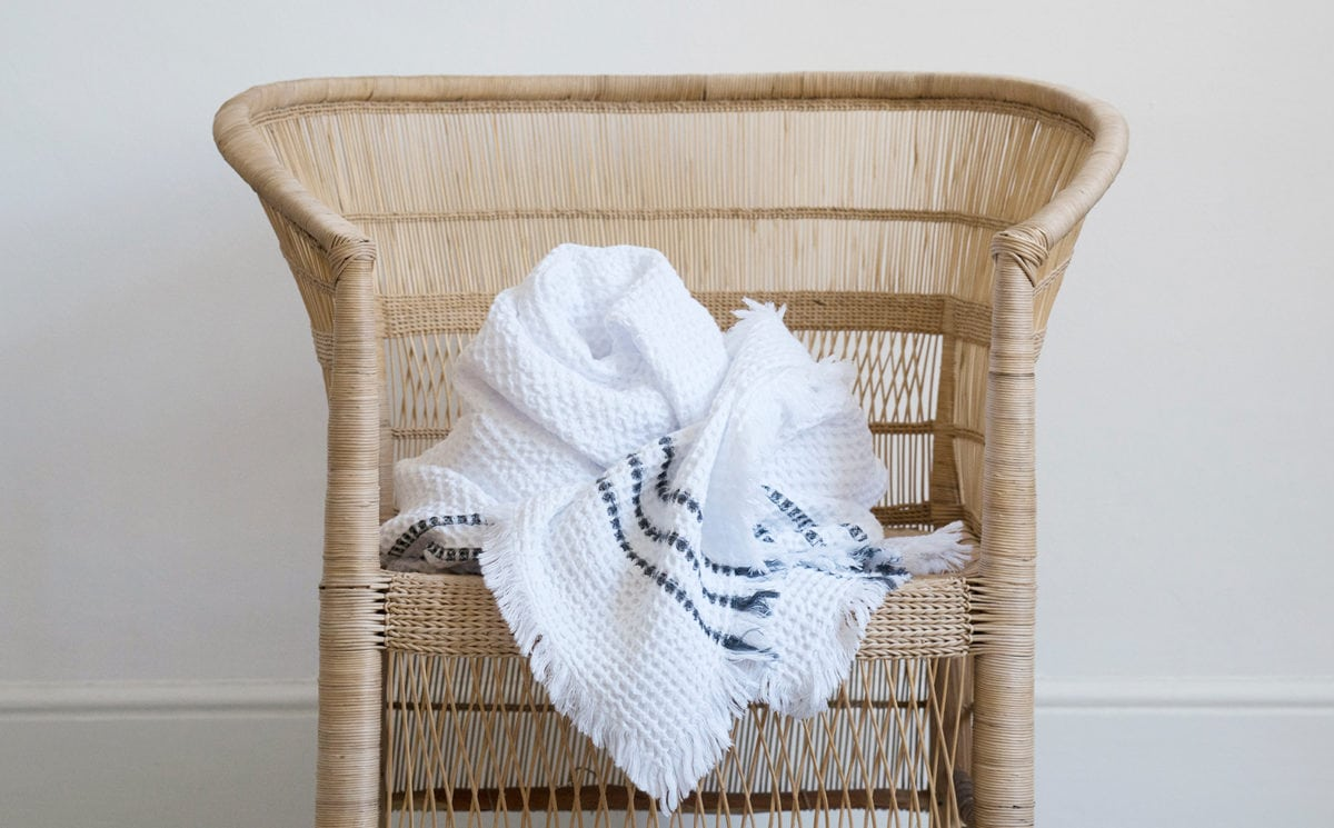 Mungo Belgian Waffle Towel. Woven from pure cotton with a traditional, absorbent waffle weave