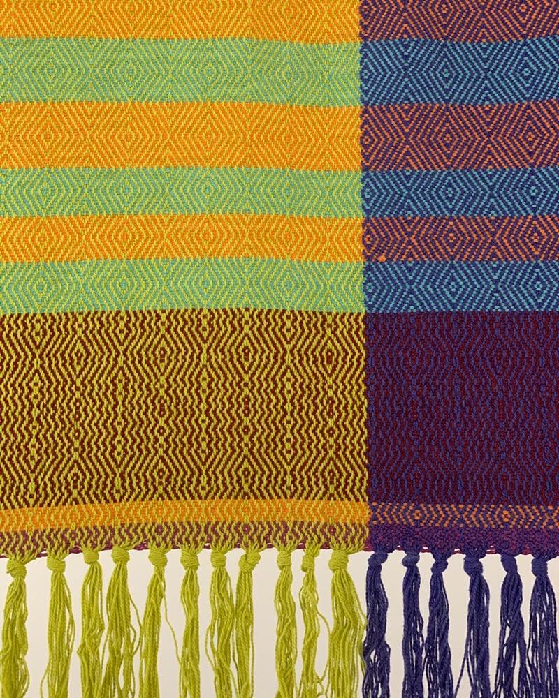 Textile piece designed by Mungo designer Lenore Schroeder on display at Glen Carlou Gallery