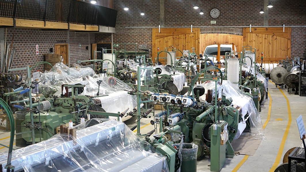 Inside the Mungo Mill - all looms 7 weaving machines sealed prior to the 21-day nationwide lockdown
