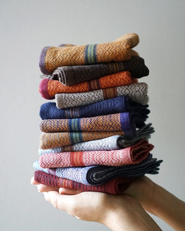 Mungo Boma Stack - pure cotton, reusable hand towels. Perfect for a guest loo or office bathroom. Available in a stack of assorted colours for a special price