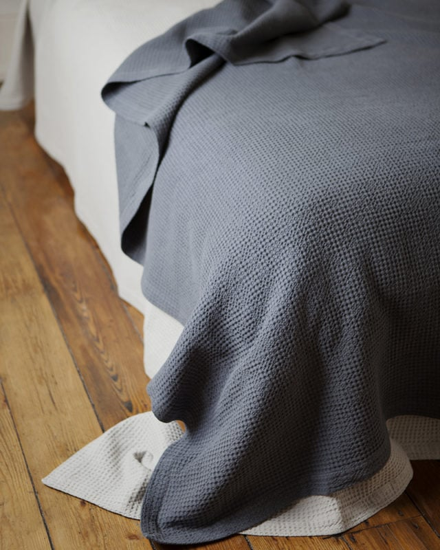 Mungo Cobble Weave Bed Cover in Slate. Pure cotton & designed, woven, made at the Mungo Mill in South Africa