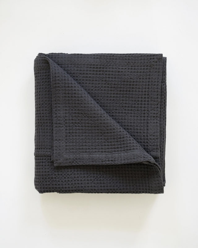 Mungo Cobble Weave Bed Cover in Charcoal. Pure cotton & designed, woven, made at the Mungo Mill in South Africa