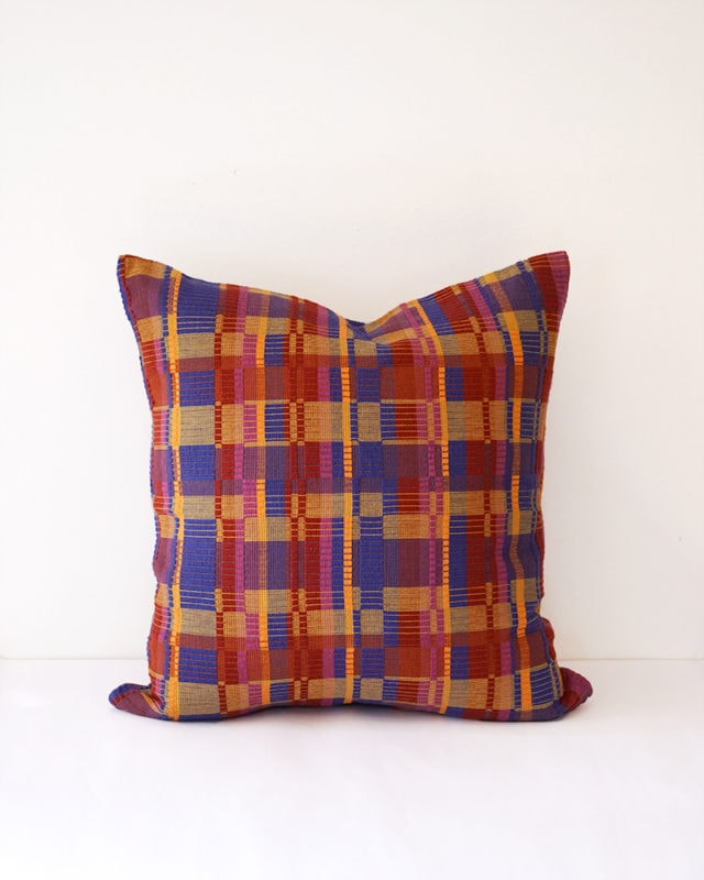 Mungo Vimba Cushion Cover in Mkuzi. Colourful cotton scatter cushions with a striking block print. Woven at the Mungo Mill in Plettenberg Bay