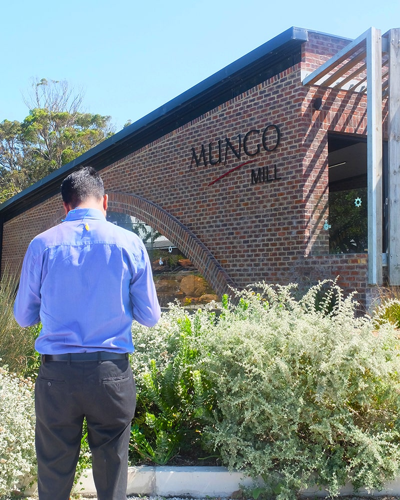 Auditor from Control Union visiting the Mungo Mill in accordance with GOTS certification