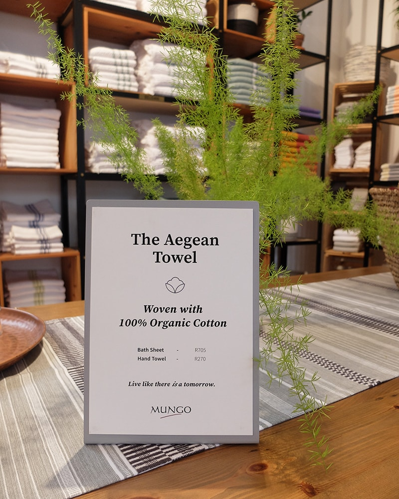 Mungo Aegean Towel shop sign - 100% organic cotton towel designed, woven & made at the Mungo Mill in South Africa